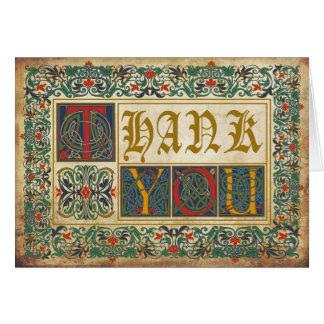 Mittelalterliches Manuskript Goth danken Ihnen Mitteilungskarte