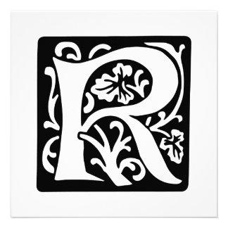 Mittelalterliches Monogramm des Buchstabe-R Einladungen