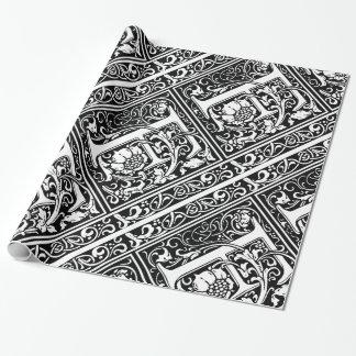 Mittelalterliches Monogramm-Vintage Initiale des Geschenkpapier