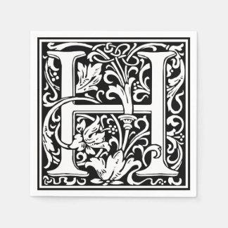 Mittelalterliches Monogramm-Vintage Initiale des Papierservietten