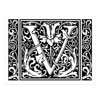 Mittelalterliches Monogramm-Vintage Initiale des Postkarte
