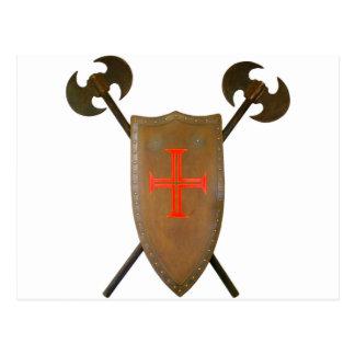 Mittelalterliches Schild und Äxte Postkarte