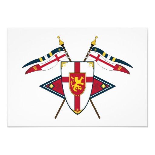 Mittelalterliches Schild und Flaggen UAWG Karte Einladungen