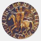 Mittelalterliches Siegel der Ritter Templar Runder Aufkleber