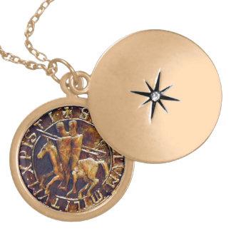 Mittelalterliches Siegel der Ritter Templar Vergoldete Kette