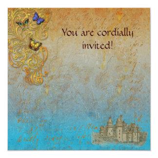 Mittelalterliches Storybook-Schloss-königliche Quadratische 13,3 Cm Einladungskarte