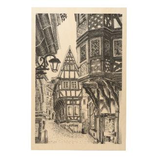 Mittelalterliches Townscape Holzleinwand