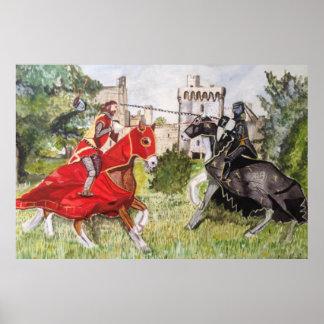 Mittelalterliches Turnier gegen ein Schloss-Plakat