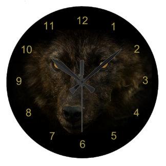 Mitternacht-Anstarren - schwarze Wolf-wildes Große Wanduhr