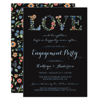 MitternachtsblumenLiebe-Verlobungs-Party Einladung