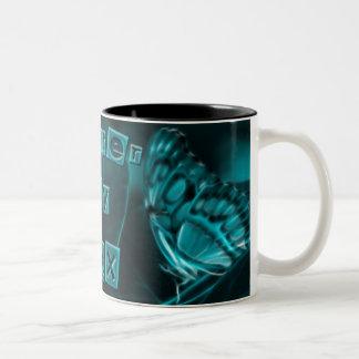Mitternachtsleidenschaft, blaue Schmetterlings-Küs Zweifarbige Tasse
