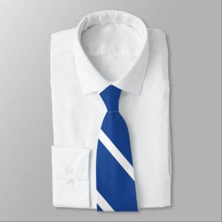 Mittler-Blaue und weiße Hochschulstreifen-Krawatte Krawatte
