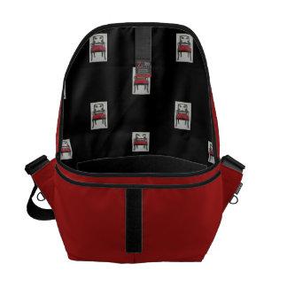 Mittlere Bote-Tasche, Rot und Schwarzes Kuriertasche
