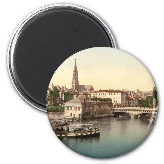 Mittlere Brücke, Metz, Frankreich Runder Magnet 5,7 Cm