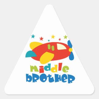 Mittlere Bruder-Plan-Sterne Dreieckiger Aufkleber
