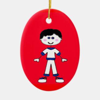Mittlere Jungen-Stock-Familie Keramik Ornament