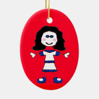 Mittlere Mädchen-Stock-Familie Keramik Ornament