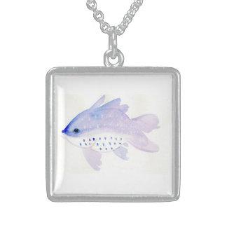 Mittlere silberne Fisch-Halskette Sterling Silberkette