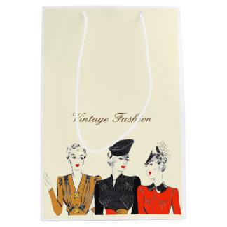 Mittlere Vintage Damenmodecreme-Geschenktasche Mittlere Geschenktüte