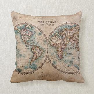 Mittlere Weltkarte 1800 Kissen
