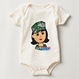 Mittlerer Militärmädchen-Camouflage-Kopf Baby Strampler