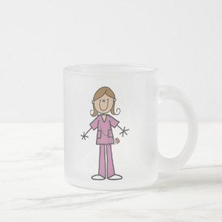 Mittleres Haut-Strichmännchen-weibliche Krankensch Kaffeetassen