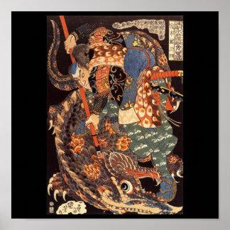 Miyamoto Musashi, das C. 1800's malt Poster