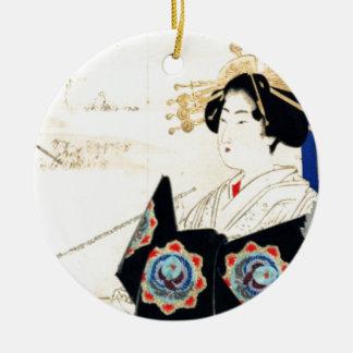 Mizuno Toshikata 水野年方, Kurtisane - asiatische Keramik Ornament