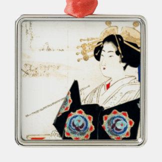 Mizuno Toshikata 水野年方, Kurtisane - asiatische Silbernes Ornament