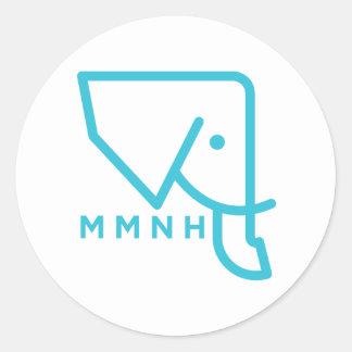 MMNH blauer Elefant-Aufkleber Runder Aufkleber
