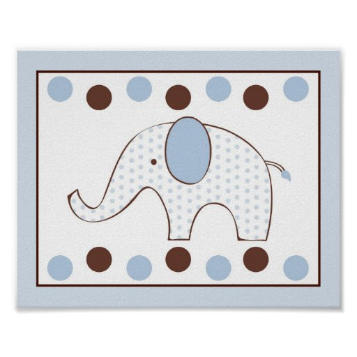 mod blauer elefant kinderzimmer wand kunst druck poster zazzle. Black Bedroom Furniture Sets. Home Design Ideas