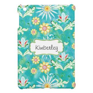 Mod-BlumenBlumen-Kunst-handgemalter Zickzack Strei iPad Mini Hüllen