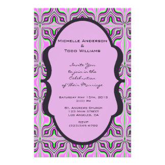 Mod, das rosa malvenfarbenes Muster Wedding ist 14 X 21,6 Cm Flyer