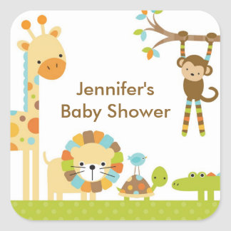 Mod-Dschungel-Safari-Baby-Duschen-Aufkleber Quadratischer Aufkleber