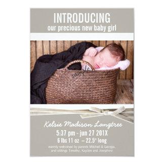 Mod-Leinenbaby-Mädchen-Geburts-Mitteilung 8,9 X 12,7 Cm Einladungskarte