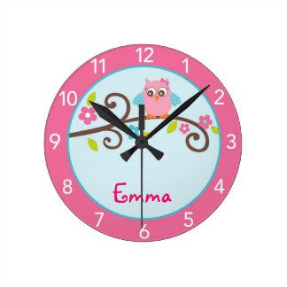 Mod-Mädchen-Eulen-personalisierte Kinderzimmer-Wan Uhr
