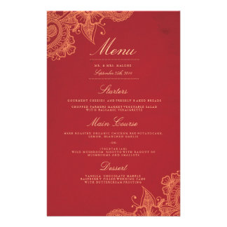 Mod Mehandi Hochzeits-Abendessen-Menü Flyerdesign
