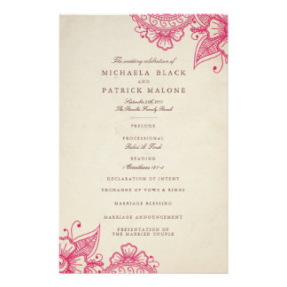 Mod Mehandi Hochzeits-Programme 14 X 21,6 Cm Flyer