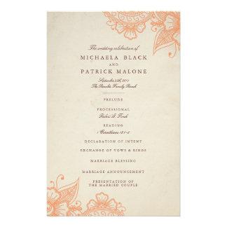 Mod Mehandi Hochzeits-Programme Vollfarbige Flyer