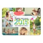 Mod-neues Jahr-Foto-Collagen-Feiertags-Karte 2015 Personalisierte Einladung