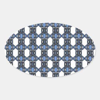 Mod-Retro blaues abstraktes Scarabäus-Muster Ovaler Aufkleber