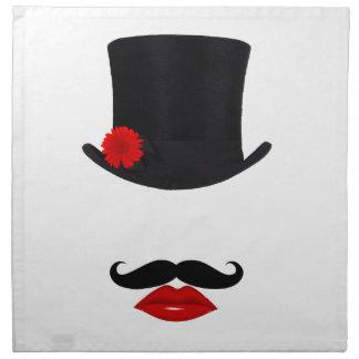 Mod-Spitzenhut-Dame With Mustache Stoffserviette