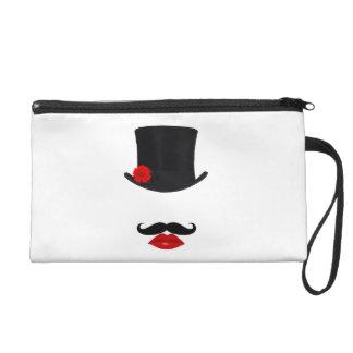 Mod-Spitzenhut-Dame With Mustache Wristlet Handtasche