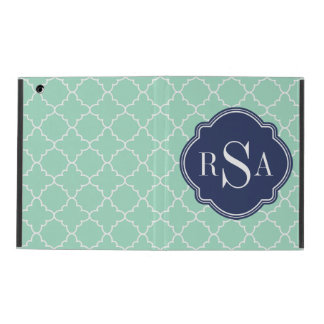 Mod-tadelloses grünes Gitter-Blau-Monogramm iPad Schutzhülle
