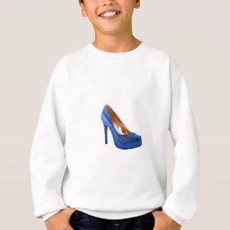 Mode-Absatz-Schuh-Blau addiert Text Sweatshirt