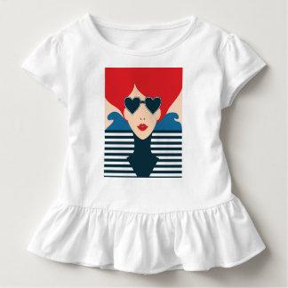 Mode-Chicillustration der Mode französische Kleinkind T-shirt