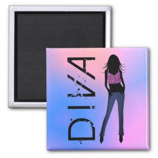 Mode-Diva in den Blue Jeans-kundenspezifischen Quadratischer Magnet