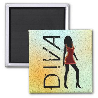 Mode-Diva in roten Dresss kundenspezifischen Quadratischer Magnet