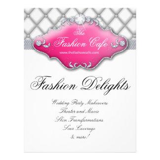 Mode-Flyer-Haar-Salon-Satin-Diamant-Rosa