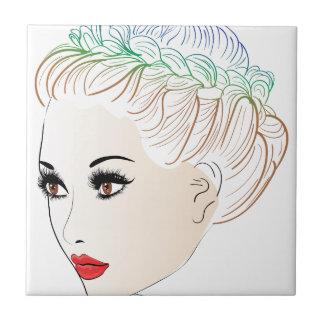 Mode-Frisuren Lineart 2 Keramikfliese